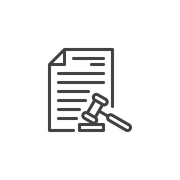 Law document file line icon. Court decision linear style sign for mobile concept and web design. Legal document page with Judge Gavel outline vector icon. Law and justice symbol, logo illustration.