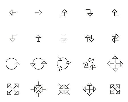Arrows Or Navigation Icons Thin Line Set Big