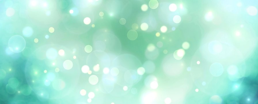 Abstract blue and green bokeh background - Christmas or spring concept - Blurred bokeh circles