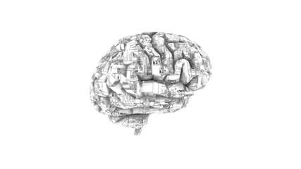 Biomechanical computer brain - monochrome  machine mind 3D render - side view