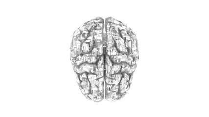 Biomechanical computer brain - monochrome machine mind 3D render - top view