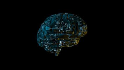 Biomechanical computer brain - glowing blue machine mind 3D render - side view