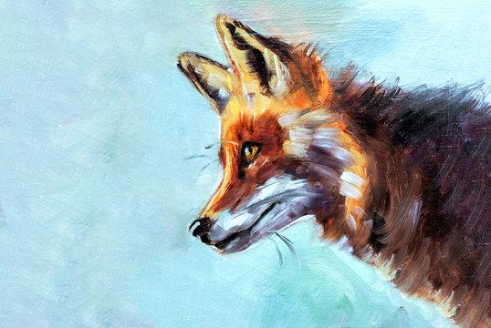 Illustrazione o dipinto ad olio di un animale selvatico, volpe rossa di profilo su sfondo azzurro con texture