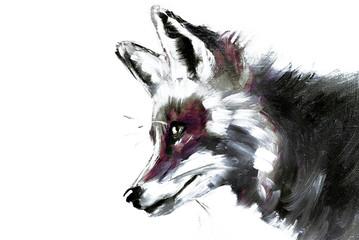 Illustrazione o dipinto ad olio di un animale selvatico, volpe rossa di profilo su sfondo con texture, ritratto in bianco e nero