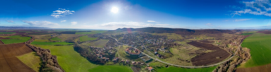 Panoramic view of the village Medovo, shot with a drone,Burgas,Bulgaria - Image