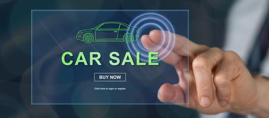 Man touching a car sale concept Fototapete