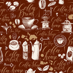 Seamless pattern on the coffee theme in retro style. Vector background with kitchen items, stains and handwritten inscriptions on brown backdrop. Suitable for wallpaper, wrapping paper or fabric