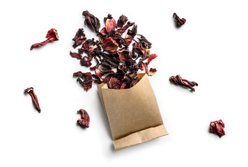 Hibiscus tea for making a drink on a white background