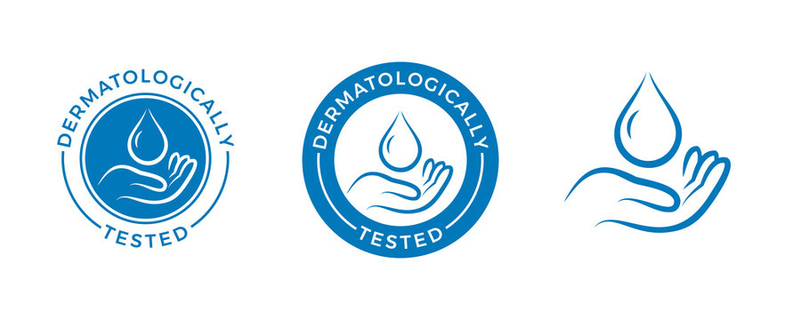 Dermatologically tested vector label with water drop and hand logo. Dermatology test, dermatologist clinically proven icon for allergy free and healthy safe product package tag