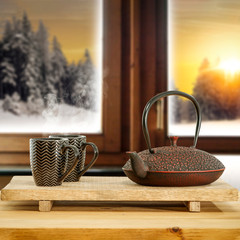 Wall Mural - Wooden board of free space for your decoration and wooden window background.