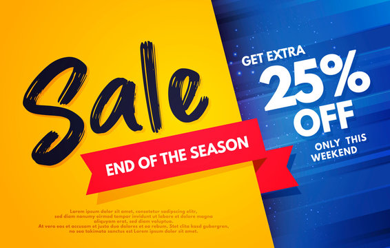 Vector Illustration End Of The Season Sale Banner Template