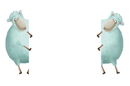 Two sheeps holding a frame. Universal card template. Empty blank, frame- border on white background