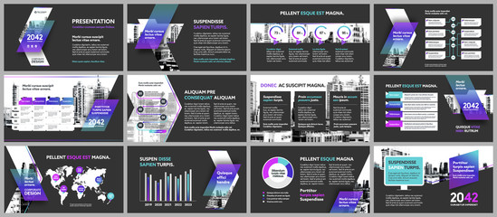 City Background Business Company Presentation with Infographics. Corporate Design Media Layout, Book Cover, Flyer, Brochure, Annual Report for Advertising and