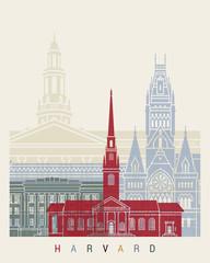 Wall Mural - Harvard skyline poster