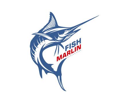 Marlin Fish logo design vector. Fishing logo design template illustration . Sport fishing Logo