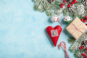 Christmas decoration and gift box background