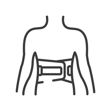 Bandage belt for a back line black icon. Medical support for the lumbar after injuries and sprains. Bandage to relieve pain. Posture Corrector. Sign for web page, mobile app. Vector isolated button.