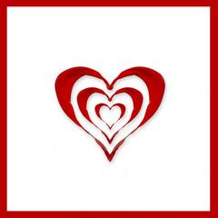 Coeur en peinture rouge