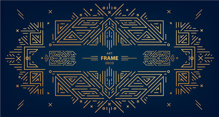 Vector set of art deco frames, edges, abstract geometric design templates for luxury products. Linear ornament compositions, vintage. Use for packaging, branding, decoration - fototapety na wymiar