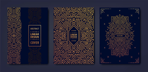 Set of vector Art deco golden covers. Creative design templates. Trendy graphic poster, gatsby brochure, design, packaging and branding. Geometric shapes