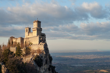 San Marino city view. Beautiful castle on the rock and and the surrounding lands. San Marino landmark. Italy. Wall mural
