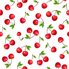 Vector seamless pattern with red cherry berries on a white background.