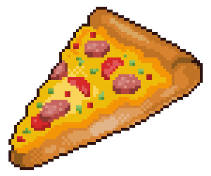 Pixel art pizza fast food 8bit white background