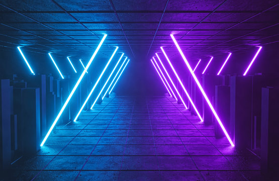 Sci Fi Futuristic Glowing violet and blue neon lights tunnel abstract background. vibrant colors. technology concept. 3d rendering