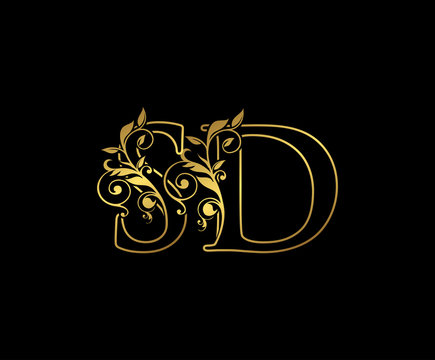 Golden S, D and SD Letter Classy Floral Logo Icon,  Elegant Design.