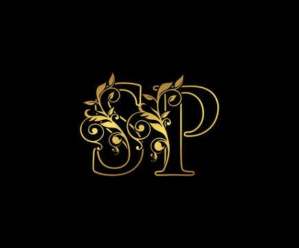 Golden S, P and SP Letter Classy Floral Logo Icon,  Elegant Design.