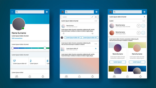 Mobile app interface inspired by linkedin style. Social media CV or portfolio of specialist. Career profile page. Connection of professionalists. Find a job or worker. Vector illustration.