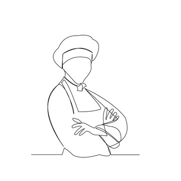 continuous line drawing of chef with apron and chef hat vector illustration