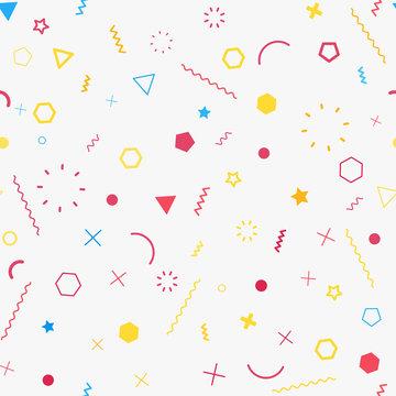 Cute seamless background. Memphis pattern. Flat concept. Fashion 80s-90s. Retro funky graphic. School geometric print illustration element. Repeat banner. Vector template. Minimalist color backdrop