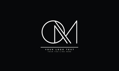 OM ,MO ,O ,M Letter Logo Design with Creative Modern Typography
