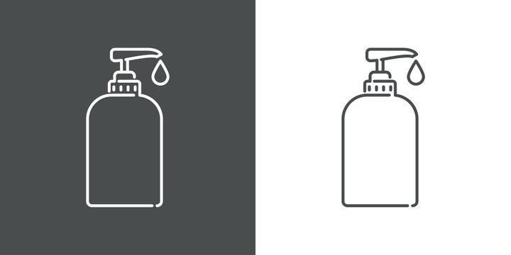 Icono plano lineal dosificador de jabón en fondo gris y fondo blanco
