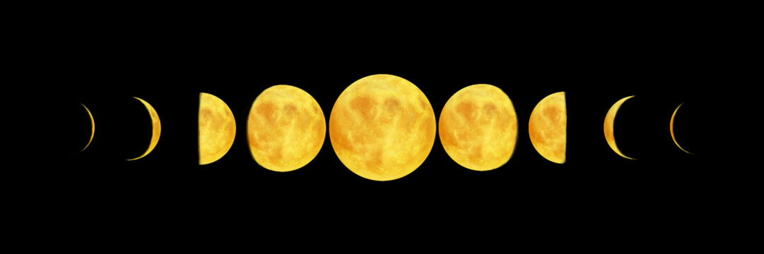 Bright realistic moon. Moon phases illustration on black background