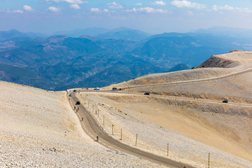 Cycling on Mont Ventoux. Provence. France.