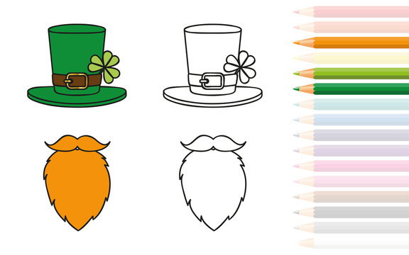 leprechaun red beard and hat with clover coloring book and pencils vector illustration EPS10