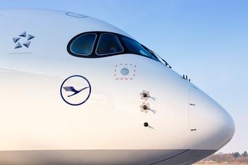 Lufthansa Airbus A350 airplane Hamburg airport