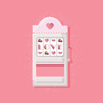 Rose slot machine for girls with love text