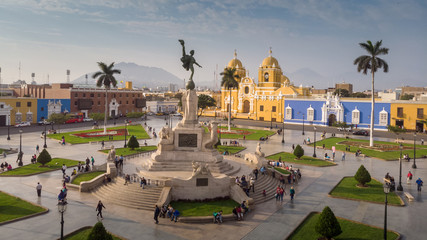 Aerial view of Trujillo main square.