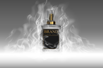 Realistic perfume bottle with smoke template Wall mural