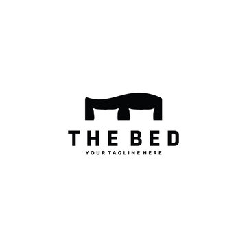 Minimalist Bed logo design vector