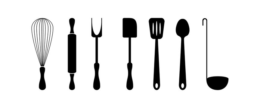 Cookware set. Black silhouette objects isolated on white background. Kitchen supplies. Vector illustration.
