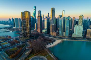 Printed roller blinds Chicago Chicago Skyline Sunrise Aerial 14
