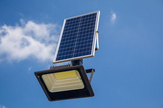 the LED lamp is charged from the solar battery