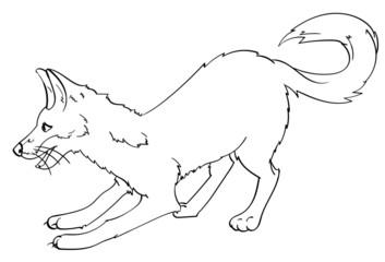 Playful Fox Lineart