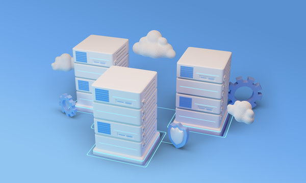 Cloud data center with hosting servers. Computer technology, network and database. 3d render