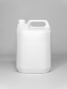 5 ltr / Litre White Plastic Container Containing Fluid Close Up