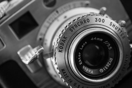 WOODBRIDGE, NEW JERSEY - October 11, 2018: A dusty, vintage Kodak Synchro 300 is seen. Image is done in black and white.
